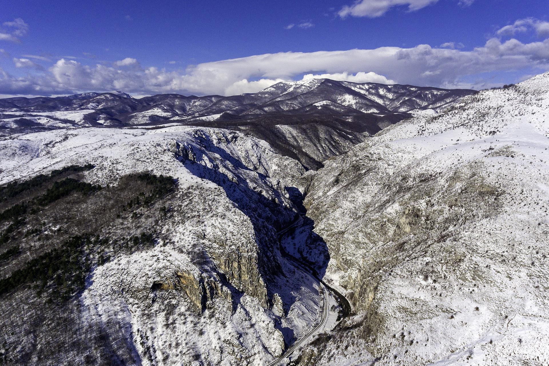 Cheile Sohodolului - Panorama aeriana de iarna